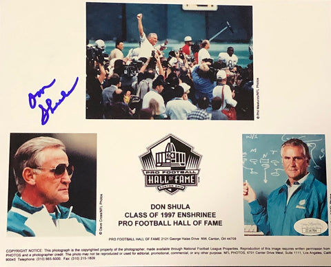 Don Shula Autographed 8X10 Photo