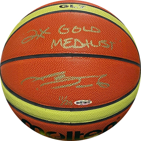 "LeBron James ""2x Gold Medalist"" Autographed Molten Basketball (UDA)"