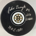 Johnny Bucyk Autographed Boston Bruins Official Puck