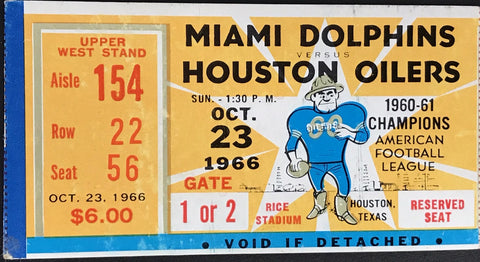 1966 Miami Dolphins @ Houston Oilers Inaugural Season 1st Road win Ticket Stub