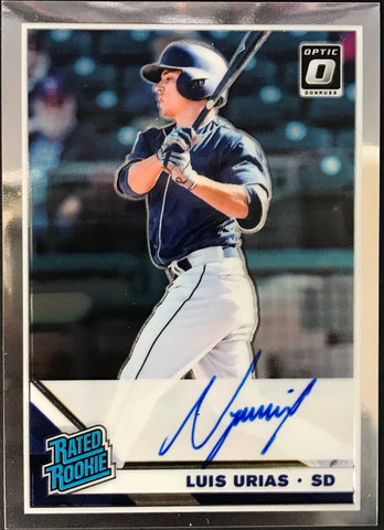 Luis Urias 2019 Signed Panini Optic Rated Rookie Card