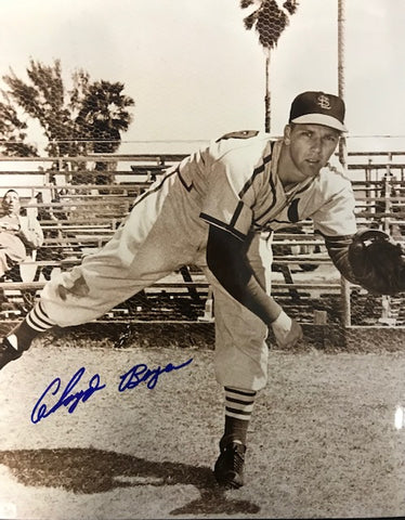 Cloyd Boyer Autographed 8x10 Sepia Tone Baseball Photo