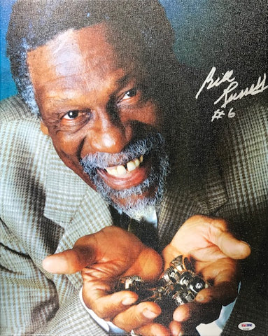 Bill Russell Autographed 16x20 Stretched Canvas (PSA)