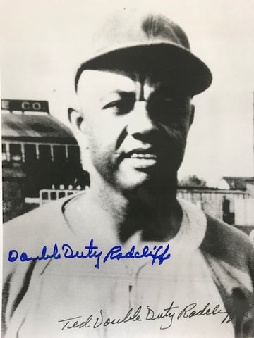 Ted Double Duty Radcliffe Autographed 8x10 Black & White Baseball Photo