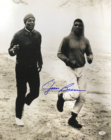 Jim Brown Running with Muhammad Ali Autographed 16x20 Photo (JSA)