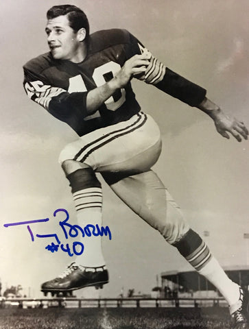 Tom Brown Autographed 8x10 Sepia Tone Football Photo