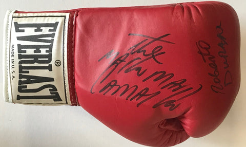 Hector Camacho & Roberto Duran Autographed Red Everlast Left Boxing Glove