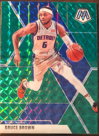Bruce Brown 2019-20 Panini Mosaic Green Prizm Card