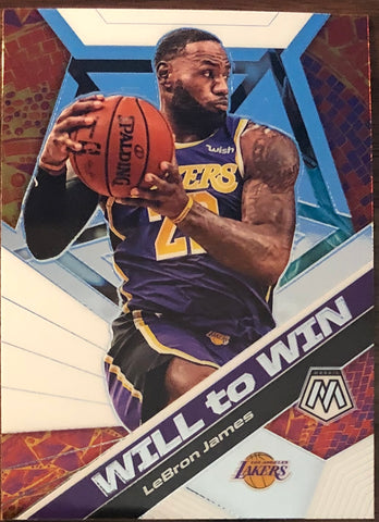 LeBron James 2019-20 Panini Mosaic Will to Win Insert Card