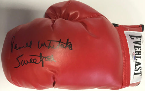 Pernell Whitaker Autographed Red Everlast Left Boxing Glove (PSA)