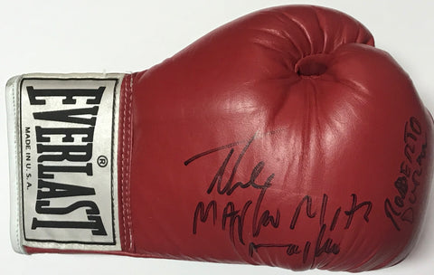 Hector Camacho & Roberto Duran Autographed Red Everlast Right Boxing Glove