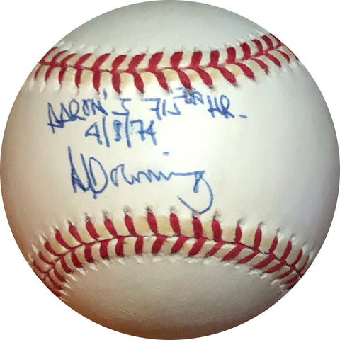 "Al Downing ""Aaron's 715th HR 4/8/74"" Autographed Baseball"