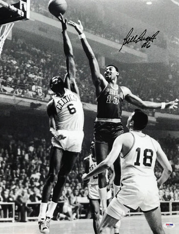 Bill Russell Autographed Blocking Chamberlain 16x20 Photo