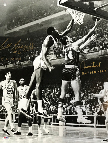 Bill Russell & Jerry West Autographed 16x20 Photo