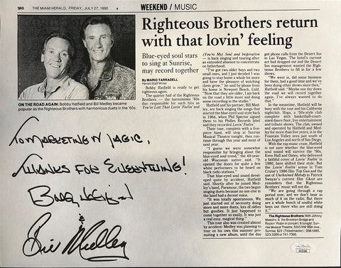 Bill Medley & Bobby Hatfield Autographed Newspaper Page w/ Ticket
