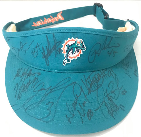 2007 Miami Dolphins Autographed Visor w/ Feely, Carey, Booker, Holliday
