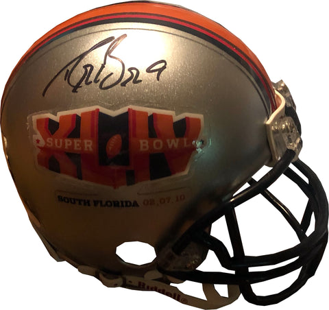 Drew Brees Autographed Super Bowl XLIV Mini Helmet (JSA)