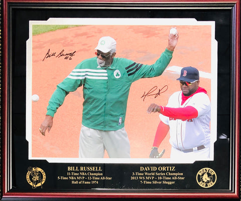Bill Russell & David Ortiz Autographed Framed 16x20 Photo