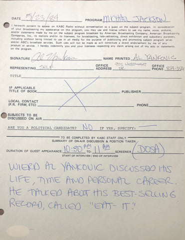 Weird Al Yankovic Autographed Contract (JSA)