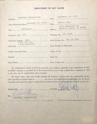 Robert Culp Autographed Contract (JSA)