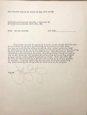 John Lithgow Autographed Contract (JSA)
