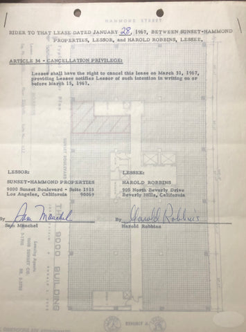 Harold Robbins Autographed Contract (JSA)