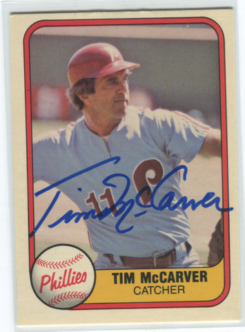 1981 Fleer Phillies #27 Tim McCarver Autographed Card