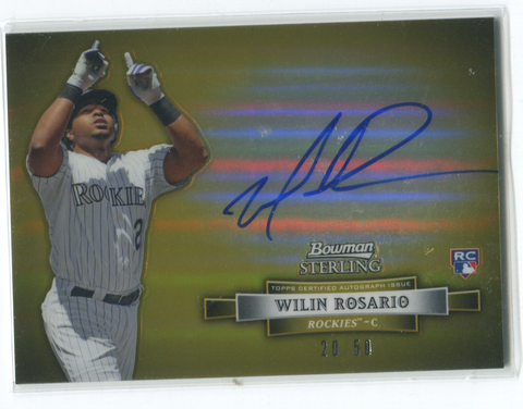 2012 Topps Bowman Sterling #BSAR-WR  Wilin Rosario Autographed Card 20/50