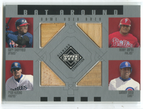 2002 Upper Deck Bat Around Sheffield/Abreu/Klesko/Sosa Card