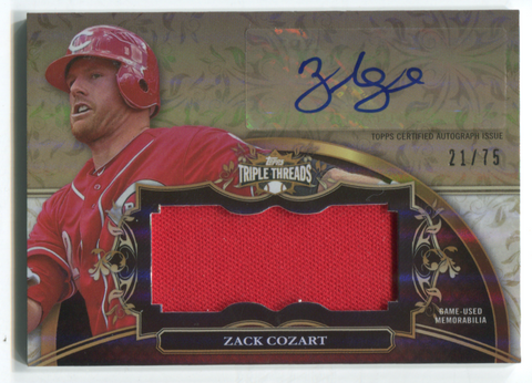 2013 Topps Triple Threads #UAJR-ZC1 Zack Cozart Autographed Jersey Card 21/75