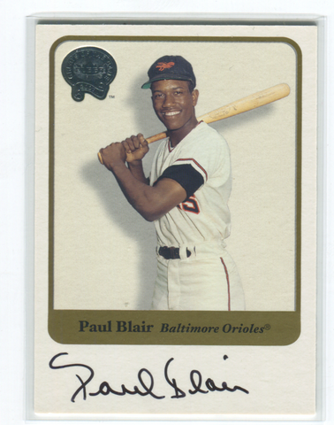 2001 Fleer Greats Of The Game Paul Blair Autographed Card