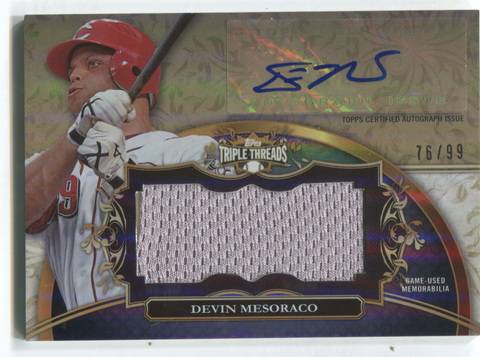 2013 Topps Triple Threads #UAJR-DM3 Devin Mesoraco Autographed Jersey Card 76/99