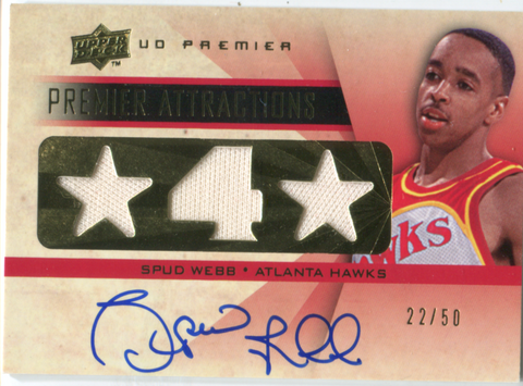 2008-09 Upper Deck Premier Attractions #AT-WE Spud Webb Autographed Card 22/50