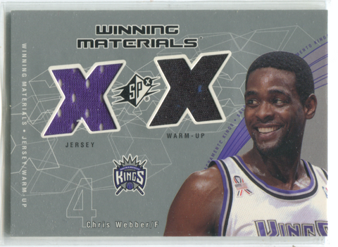 2002 Upper Deck Spx Winning Materials #CW-W Chris Webber Card