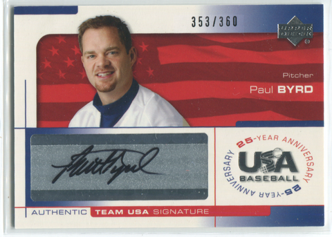 2004 Upper Deck USA Baseball Paul Byrd Autographed Card 353/360