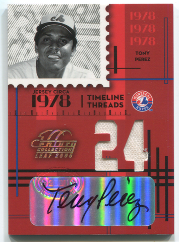 2005 Century Collection Leaf #TT-9 Tony Perez Autographed Card