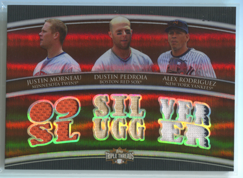 2009 Topps Triple Threads Silver Slugger #TTRC-24 J.Morneau/D.Pedroia/A.Rod Card