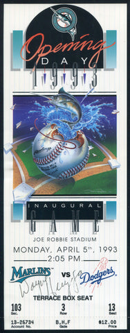 Wayne Huizenga Autographed 1993 Florida Marlins Opening Day Ticket (JSA)