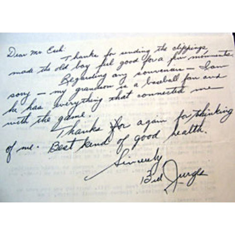 Billy Jurges Autographed / Signed Letter
