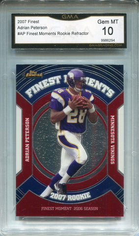 Adrian Peterson Unsigned 2007 Topps Finest Rookie Card (GMA 10)