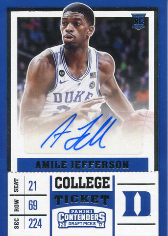 Amile Jefferson Autographed 2017-18 Panini Contenders Draft Picks Rookie Card