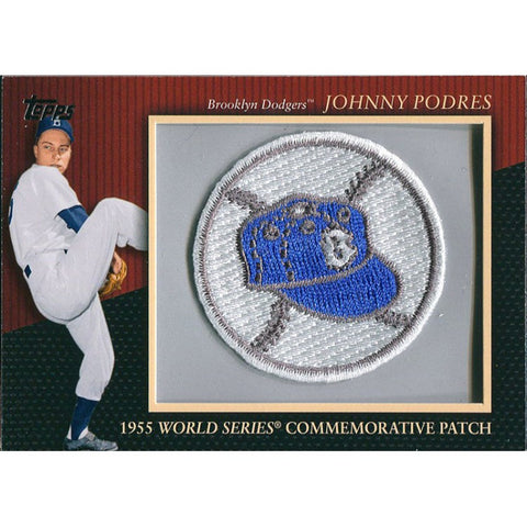 Johnny Podres Unsigned 1955 World Series Commemorative Patch Topps Card