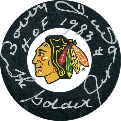 "Bobby Hull ""HOF 1983, Golden Jet"" Autographed Chicago Blackhawks Puck"