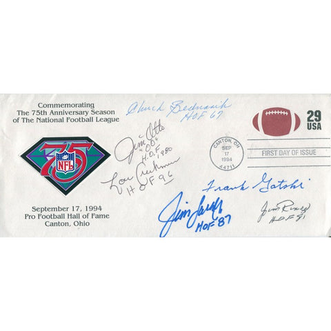 Chuck Bednarik, Jim Otto, Lou Creekmur, Jim Lander, Jim Ringo, and Frank Gatski Autographed 1994 First Day of Issue Cache