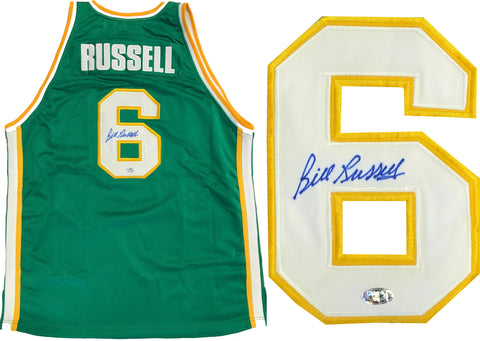 Bill Russell Autographed USF Green Jersey