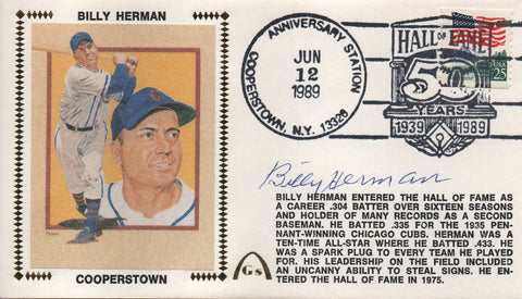 Billy Herman Autographed June 12, 1989 First Day Cover