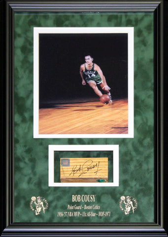 Bob Cousy Autographed Framed Floor Piece