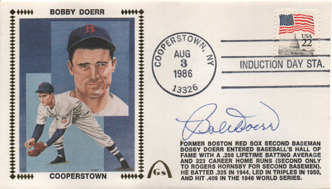 Bobby Doerr Autographed Aug 3, 1986 First Day Cover