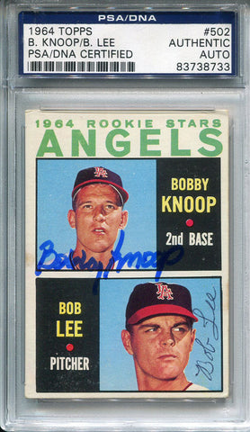 Bobby Knoop and Bob Lee Autographed 1984 Topps Card (PSA/DNA)