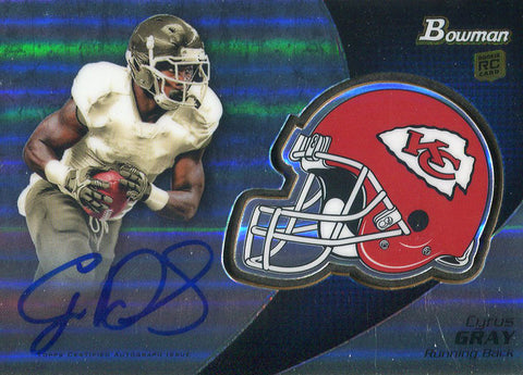 Cyrus Gray Autographed 2012 Bowman Chrome Rookie Card